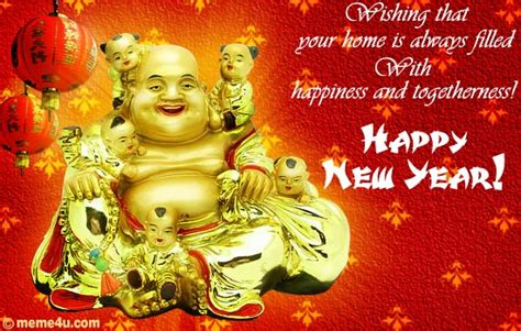new year wishes with laughing buddha