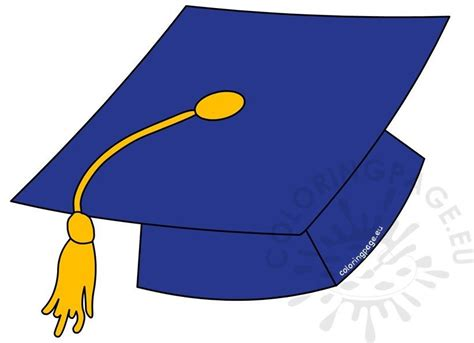 blue graduation hat  gold tassel coloring page