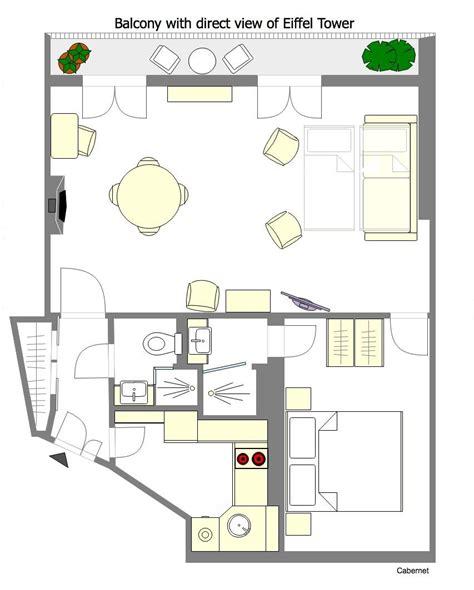 eiffel tower floor plan 1 bedroom paris accommodation with romantic eiffel tower
