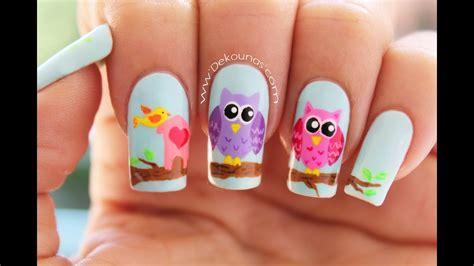 decoraci 243 n de u 241 as buhos owl nail art youtube