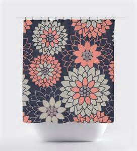Coral And Navy Curtains Coral And Navy Blue Flower Shower Curtain Geometric Shower