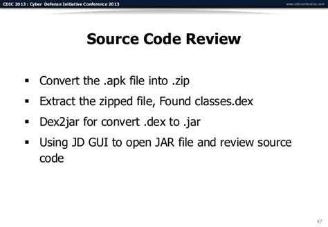 how to convert apk file to source code cdic 2013 mobile application pentest workshop