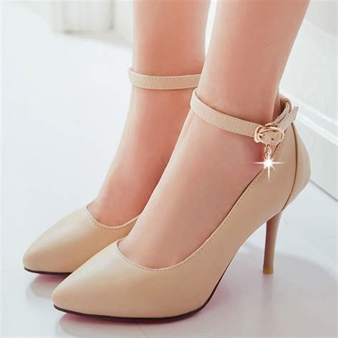 Twoban Heels Hils 2014 ankle lace heeled shoes pumps high heels wedding shoes beige black