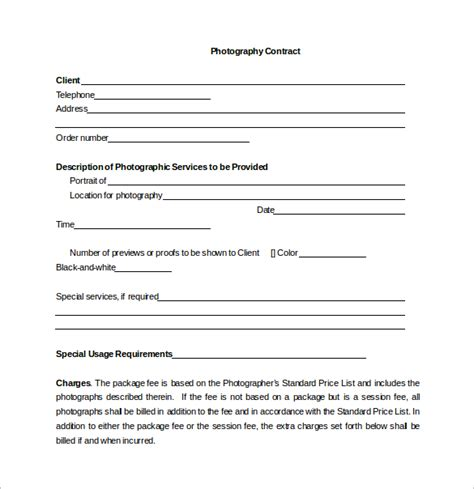 simple photography contract template photography contract 12 free documents in word pdf