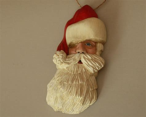 hand carved santa ornament christmas ornament santa claus