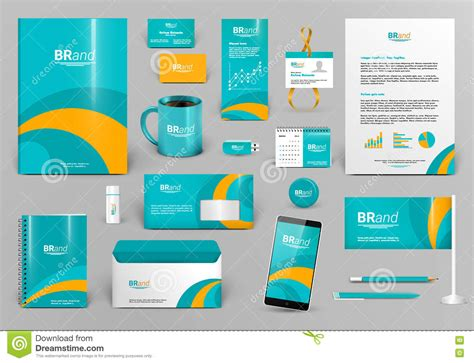 green corporate identity template with orange element