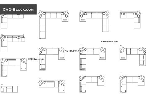 Corner Sofas CAD blocks free, CAD drawings download