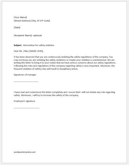 warning letter safety violation word excel templates