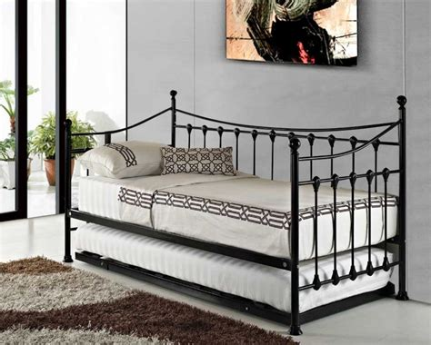 Metal Bed Frame With Trundle by Versailles Traditional Black Metal Day Bed Frame With
