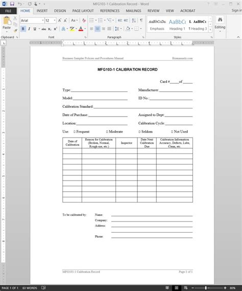record form template calibration record template