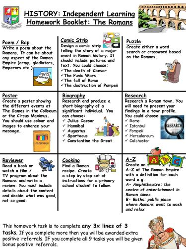 design a menu ks2 romans homework project task by ballyduffboy teaching