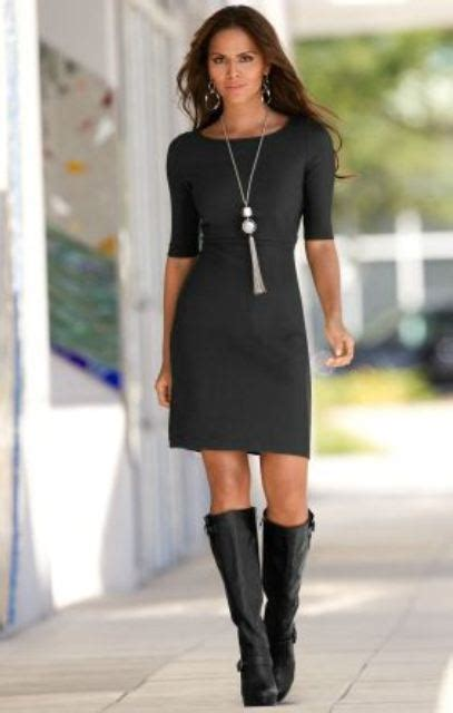 dress with boots above knee black dress and black boots this look