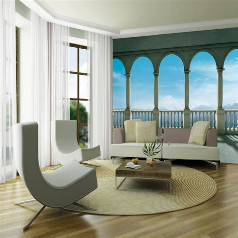 Stone Wall Murals 1 wall giant wallpaper mural columns panoramic sea view 3