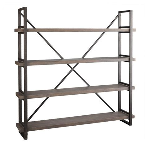 wood and iron x back bookcase modern bookcases other