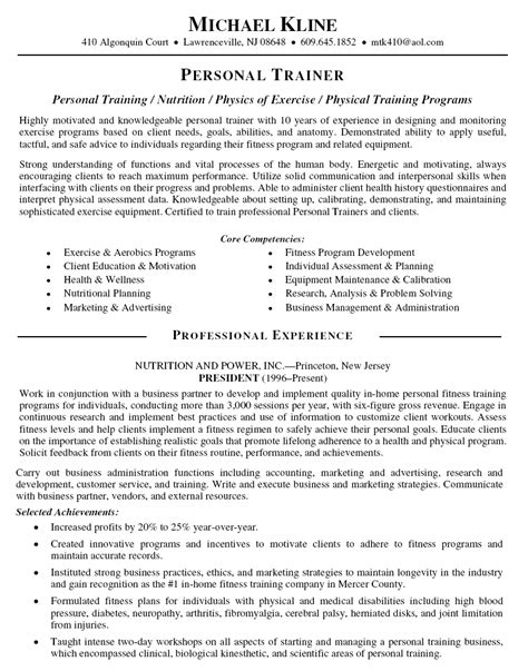 personal objectives template personal trainer resume resume sle template