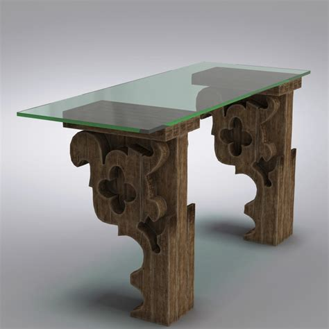 Corbel Glass Desk 3d model table