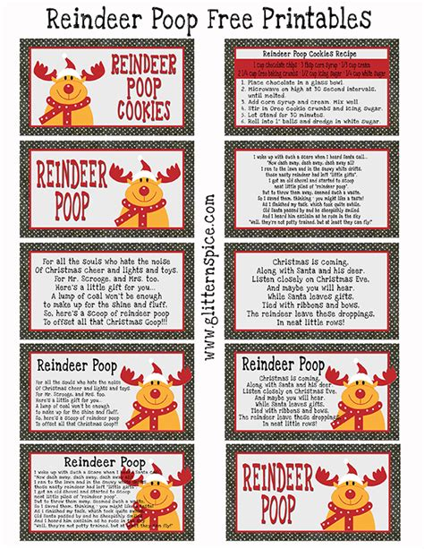 printable reindeer labels reindeer poop cookies recipe and free printable glitter
