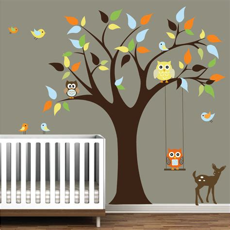 nursery wall stickers tree nursery wall decals tree stickers with animals owls wall decal