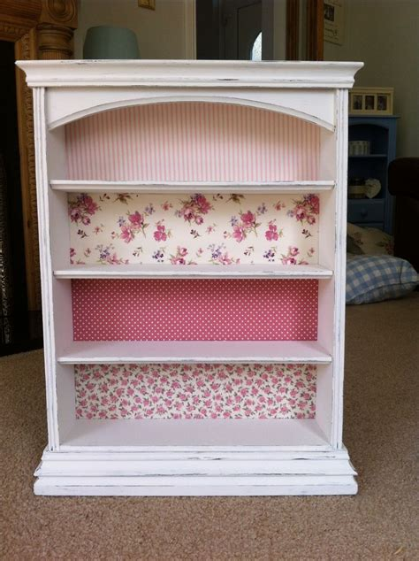 after upcylced bookshelf with shabby chic floral