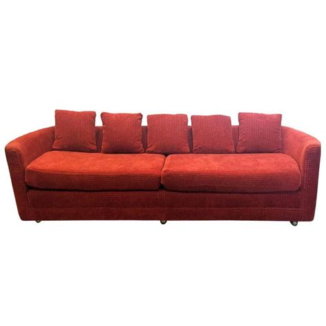 custom mid century sofa in rust colored chenille for sale