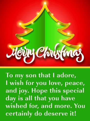 love peace joy merry christmas card  son birthday greeting cards  davia