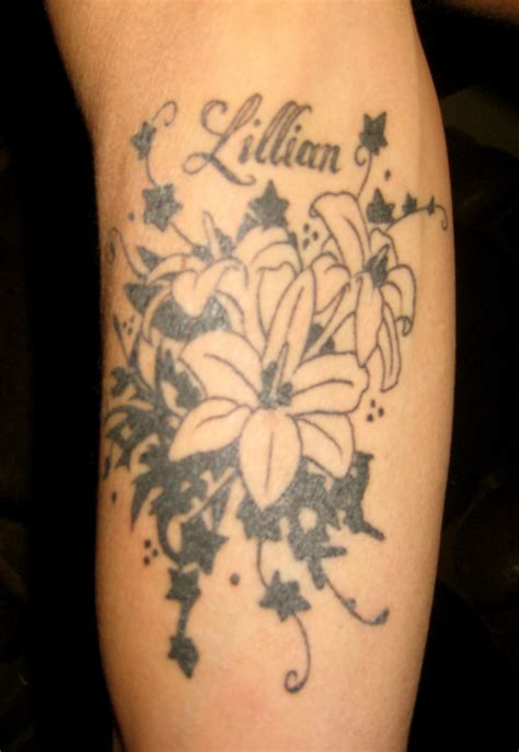 arm flower tattoos lillian flower on arm