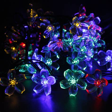 solar fairy holiday string lights 21ft 50 led multi color