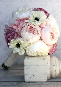 peonies bouquet silk bride bouquet peony flowers pink cream purple shabby