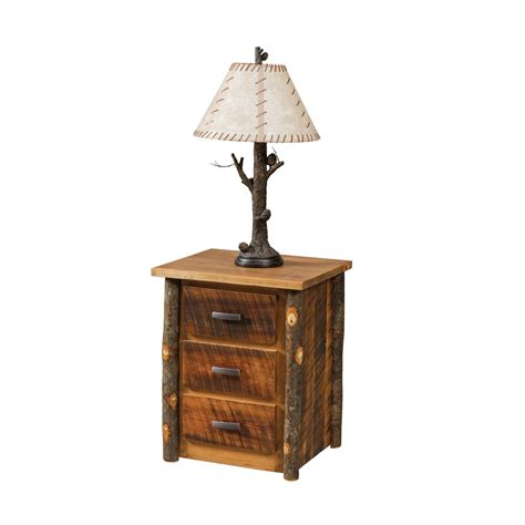 Rustic Nightstand Amish Crafted Furniture - rustic three drawer stand amish crafted furniture