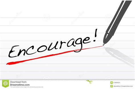 Written On encourage written on a notepad paper stock image image
