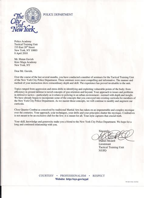 Letter Of Recommendation York nypd