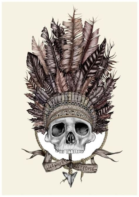 indian chief skull tattoo skull headdress tattoos