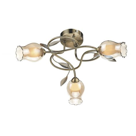 Antique Brass Flush Ceiling Light Flower Design Modern Flush Ceiling Lights Brass