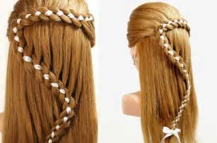 easiest type of diy hair braiding hairstyles for long hair 4 strand braid hair with ribbon