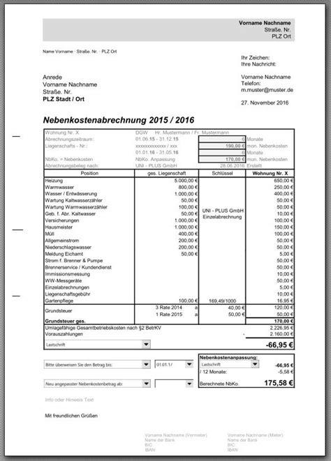 Muster Formular Nebenkostenabrechnung Nebenkostenabrechnung Eigentumswohnung