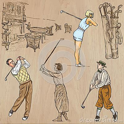 imagenes vintage golf vintage golf and golfers hand drawn vectors freehands