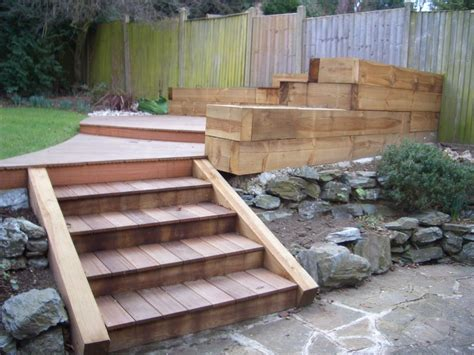 Sleeper Deck Construction by Oakley Landscapes Gardening And Landscaping Company Based