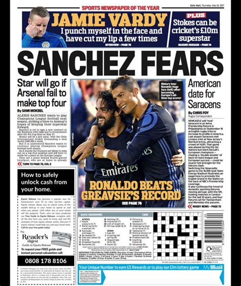 sport latest news pictures and videos daily mail online paper gossip sanchez s arsenal exit chelsea target