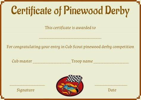 pinewood derby certificate templates pinewood derby award certificate template pinewood derby
