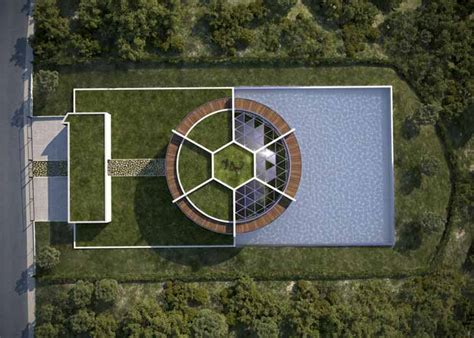 architect designs a soccer shaped house for