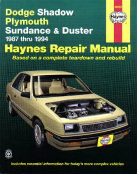 online car repair manuals free 1993 plymouth sundance electronic valve timing haynes dodge shadow plymouth sundance and duster 1987 1994 auto repair manual