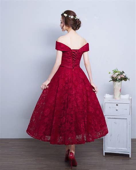 Lace A line Vintage Burgundy Tea Length Off the Shoulder Prom Dresses BA4449 Prom Dresses 2018