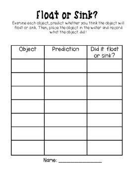 sink or float worksheet sinks and organizers on
