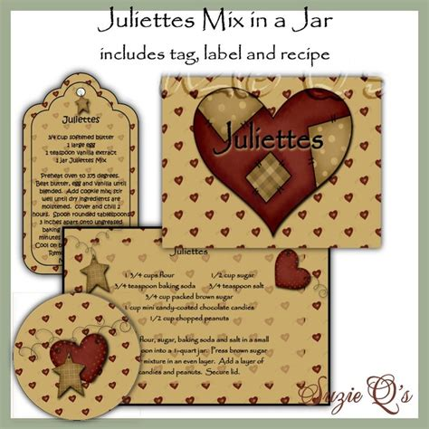 printable cookie jar recipes make your own juliettes cookies in a jar label tag