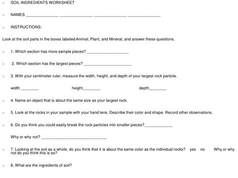 Soil Formation Worksheet Answers by Soil Ingredients