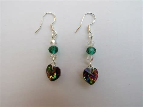 Handmade Swarovski Jewellery - handmade swarovski earrings vitrial hearts suzee krafts