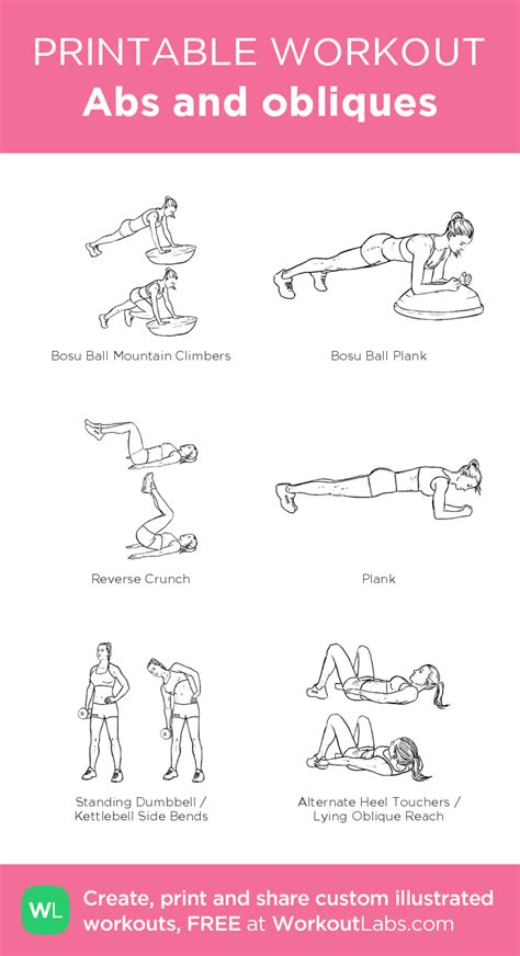 abs and obliques illustrated exercise plan created at workoutlabs click for a printable