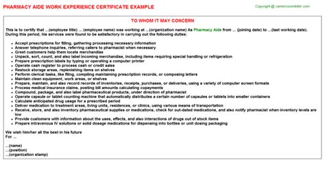 Experience Letter Hospital Pharmacist Qc Pharma Work Experience Certificates