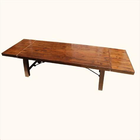 Extension Dining Table Seats 12 Large Rustic Dining Table Seats 12 With Extension Solid Wood Furniture Ebay