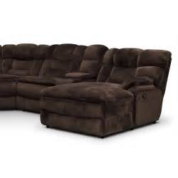 Reclining Sectional Sofa With Chaise Big Softie 6 Power Reclining Sectional With Right Facing Chaise Chocolate American